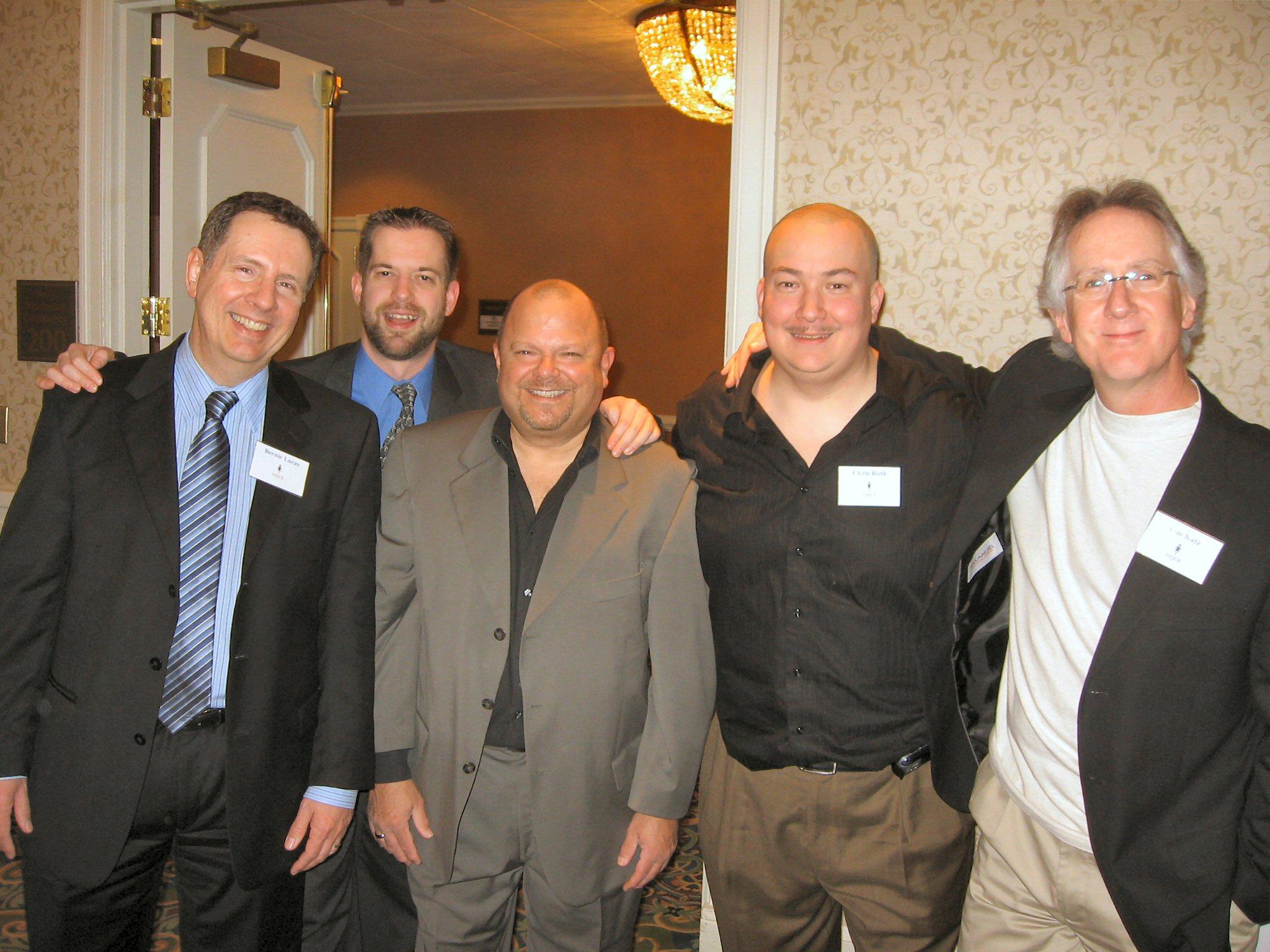 Bernie Lucas, me, Ed Rodriguez, Chris Roth and Loo Katz at the WQCB (Washington Quarter Century Broadcasters) dinner.