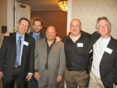 Bernie Lucas, me, Ed Rodriguez, Chris Roth and Loo Katz at the WQCB (Washington Quarter Century Broadcasters) dinner.