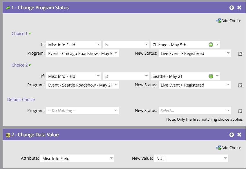 Temporary fields in a Marketo smart campaign