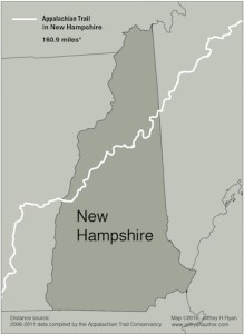 Map of the Appalachian Trail in New Hampshire