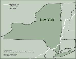 Map of Appalachian Trail in New York from Appalachian Odyssey: A 28-year Hike on America's Trail. Copyright 2016, Jeffrey H. Ryan.