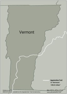 Map of Appalachian Trail in Vermont from Appalachian Odyssey: A 28-year Hike on America's Trail. Copyright 2016, Jeffrey H. Ryan.