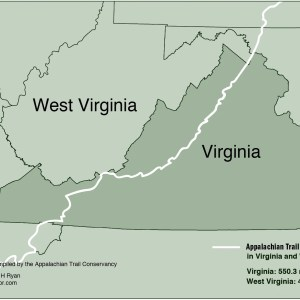 Map of Appalachian Trail in Virginia and West Virginia