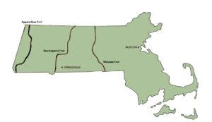Major hiking trails in Massachusetts. ©2017,www.JeffRyanAuthor.com