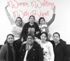 Women Walking with Hope sign
