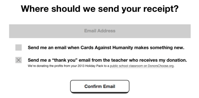 cards against humanity donate