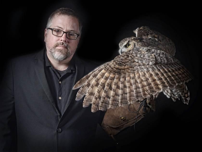 Jeff VanderMeer with owl