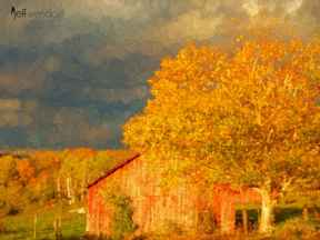 Stormy Weather Vermont Farm painted with Topaz Impression - Stamp Brush I