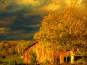 Stormy Weather Vermont Farm painted with Topaz Impression - Swirly Strokes III