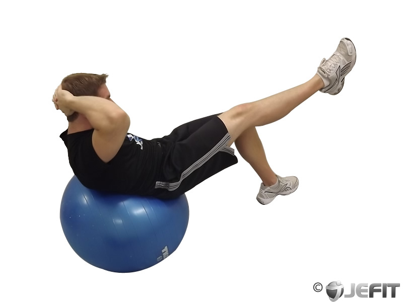 Exercise Ball One Leg Crunch Exercise Database Jefit