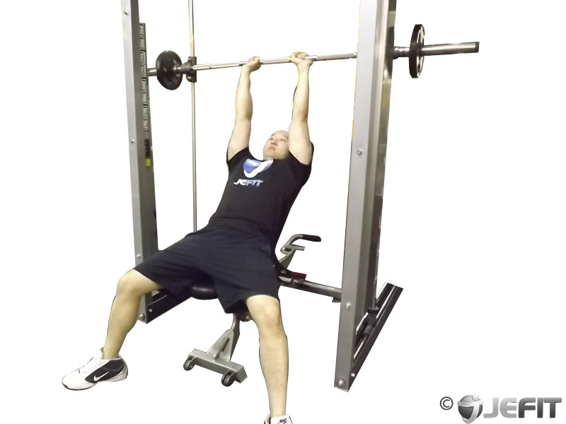 Smith Machine Close Grip Shoulder Press Exercise