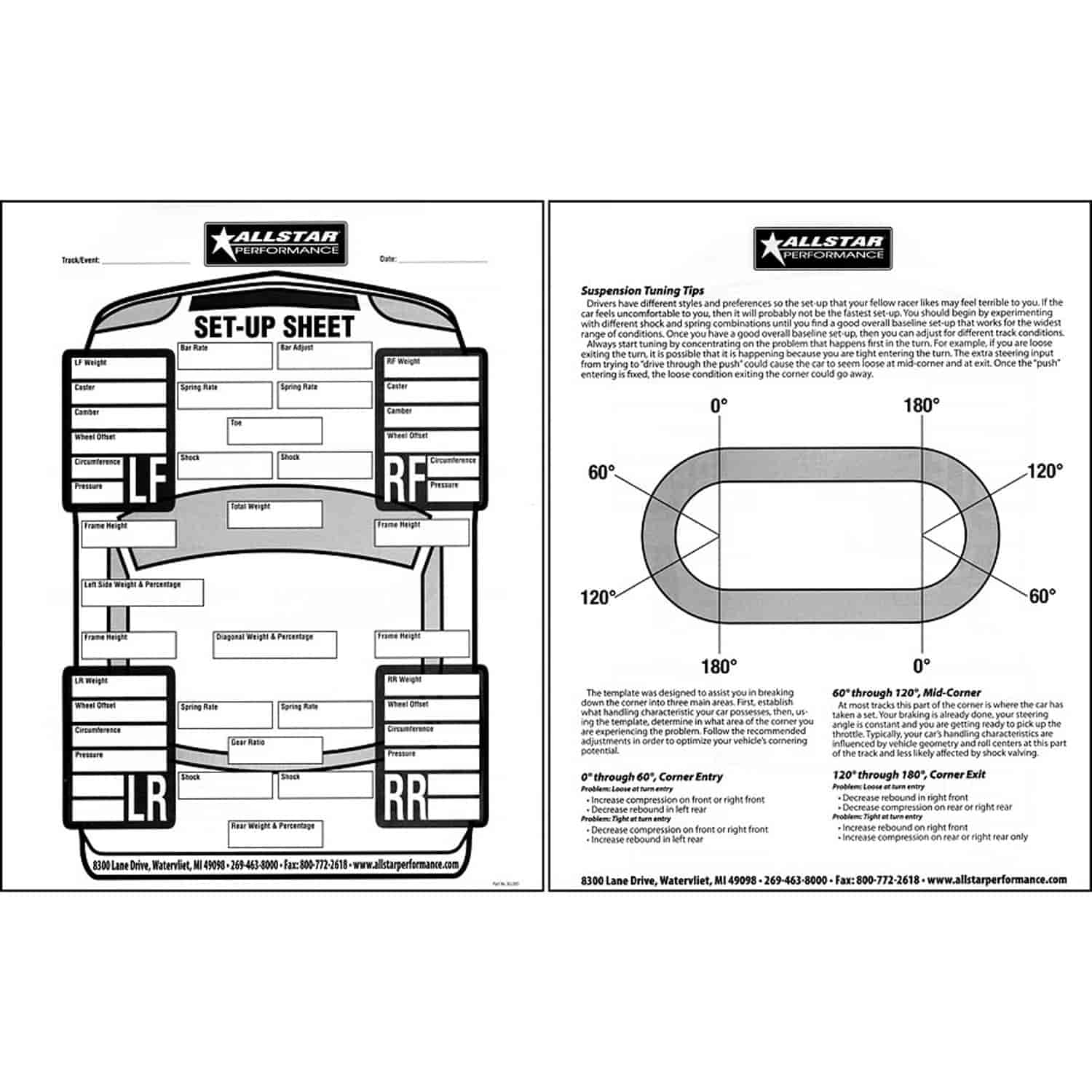 Allstar Performance All045 Circle Track Set Up Sheets 50 Pages 8 1 2 X 11