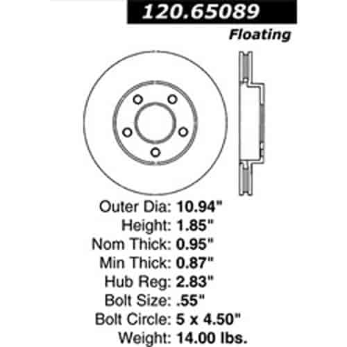 StopTech 126-65089SR: Sport Slotted 2001-2007 Ford Mazda