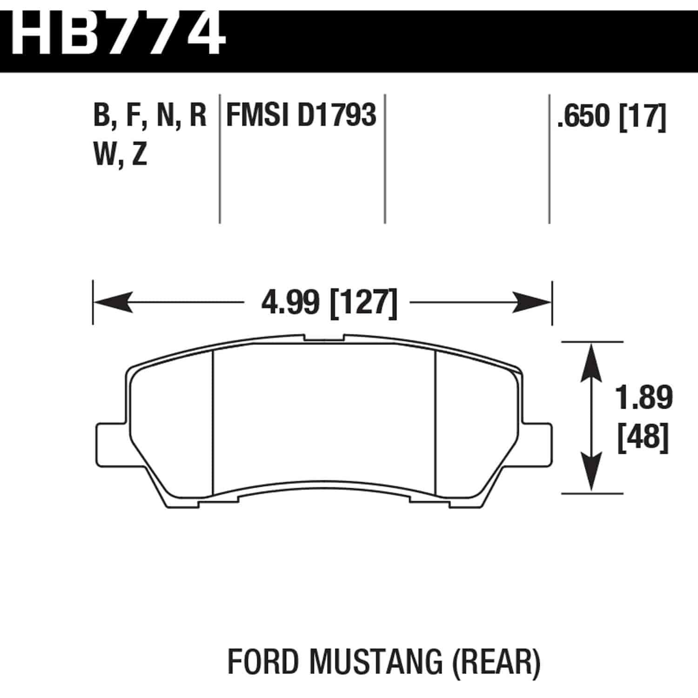 Hawk Hb774b 650 Hps 5 0 Brake Pads Ford Mustang