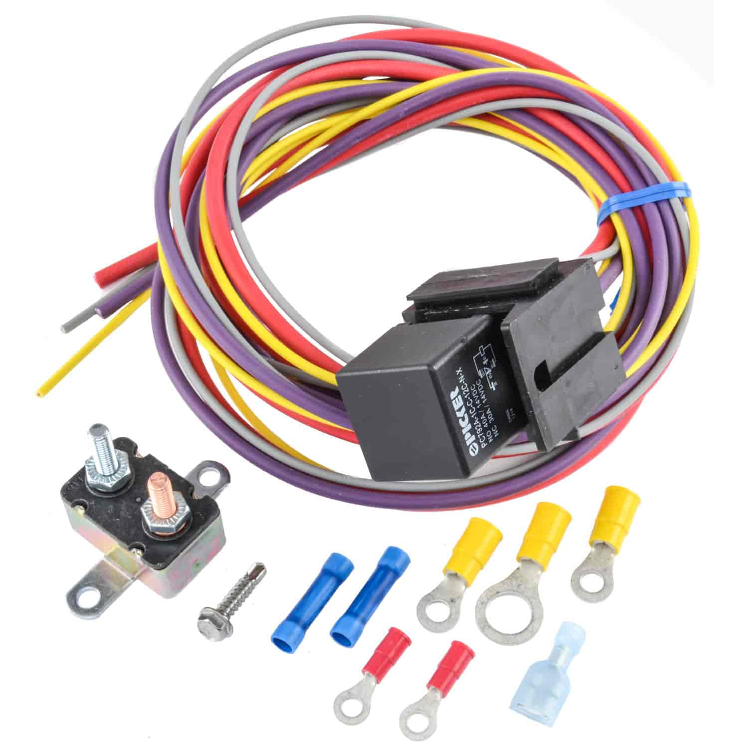 hight resolution of jegs 10559 manual controlled single fan wiring harness relay kit fan wiring harness relay