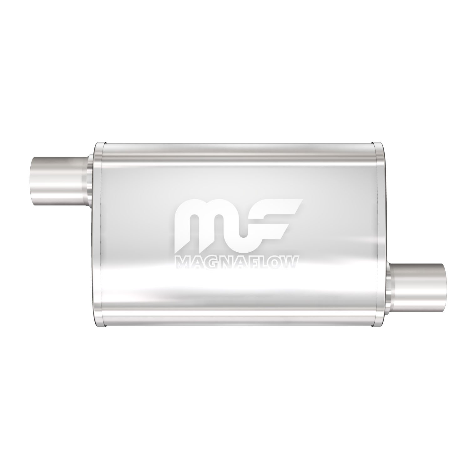 magnaflow 4 x 9 oval muffler offset in offset out 2 5 2 5 body length 14 overall length 20 core size 2 5 satin finish