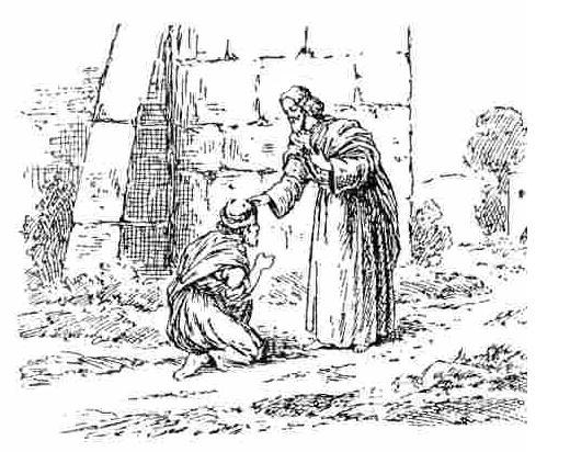 A leper pays homage to Jesus. Public domain