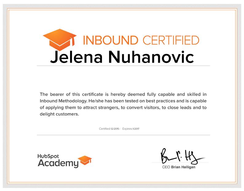Certifications - Jelena Nuhanovic