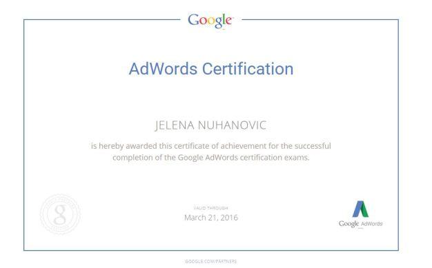 jelena-nuhanovic-google-adwords-certificate