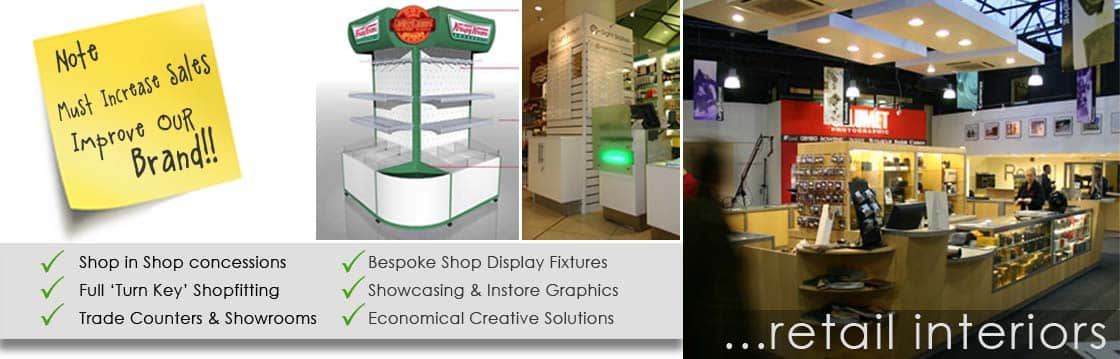 Retail interior design, space planning, displays & Fixtures, Shopfitting contractors