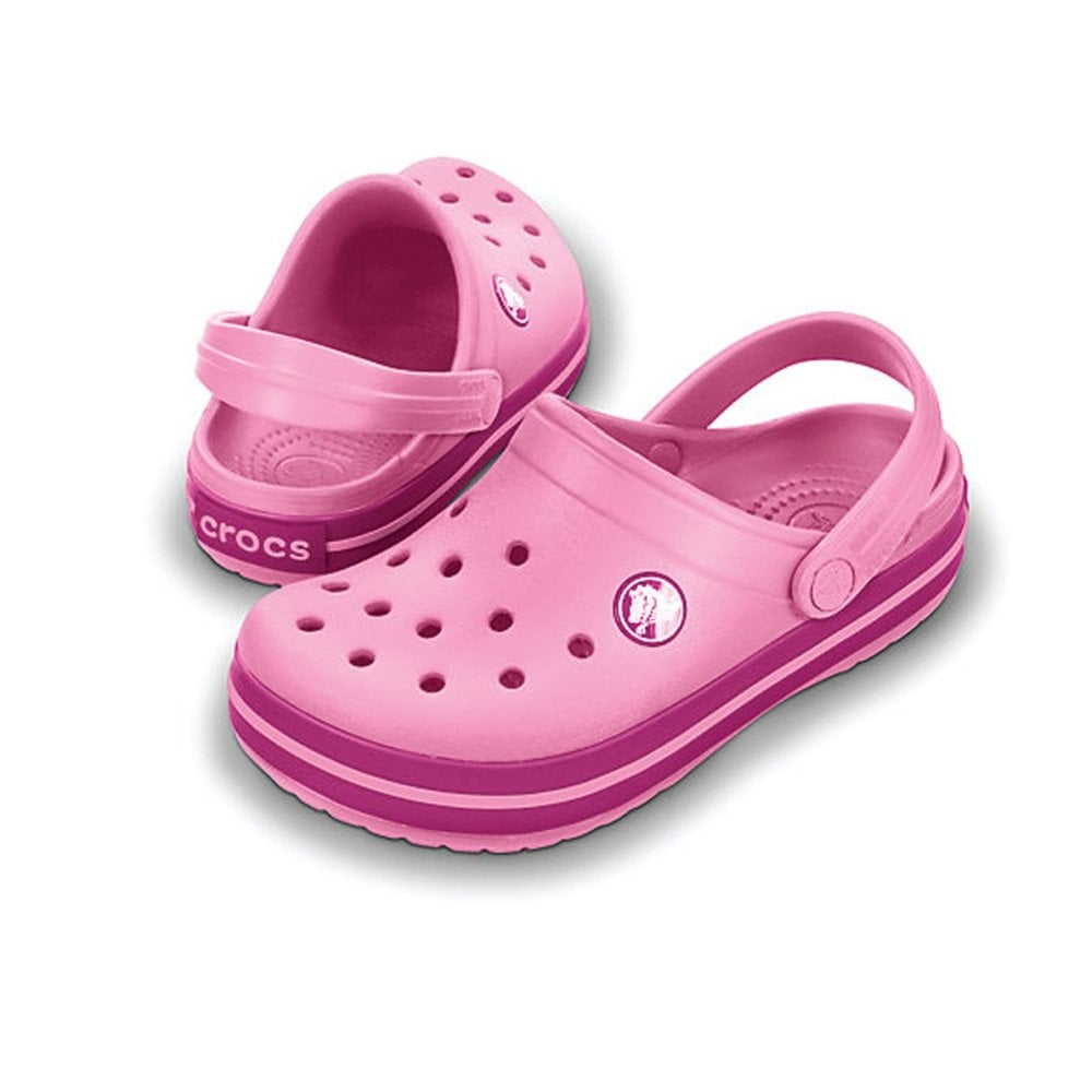 Crocs Kids Crocband Shoe Pink Lemonade/Berry. All the comfort of a Classic but with a Retro look - Crocs from Jelly Egg UK