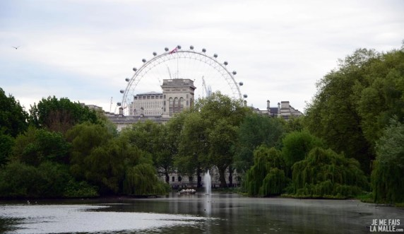 Vue sur London Eye de Saint James Park
