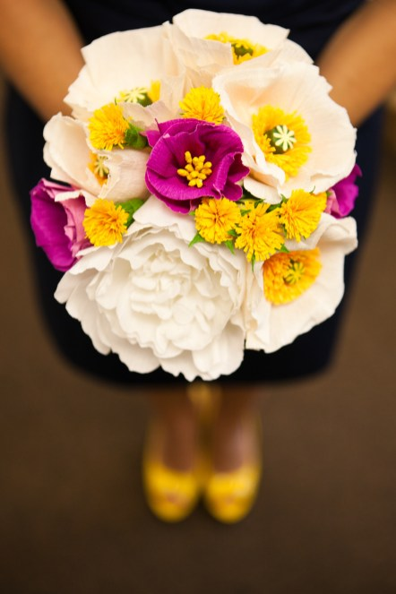Paper flowers, bright pop of color