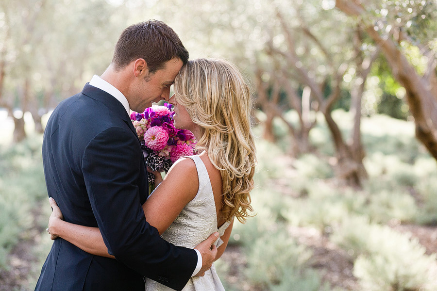 Bride and Groom in the lavender fields at the San Ysidro Ranch