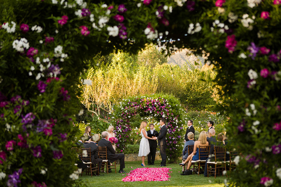 The lower ceremony garden at the San Ysidro Ranch