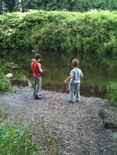 My nephew and Kale down at the river