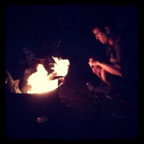 Communal campfire.