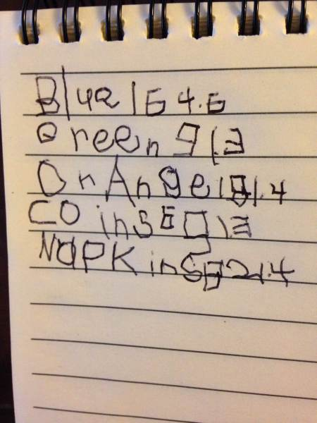 Blue 164.6 (nickels) Green 91.3 (dimes) Orange 181.4 (quarters) Coins 691.3 Napkins 821.4
