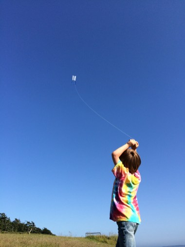 Flying a kite on Whidbey Island