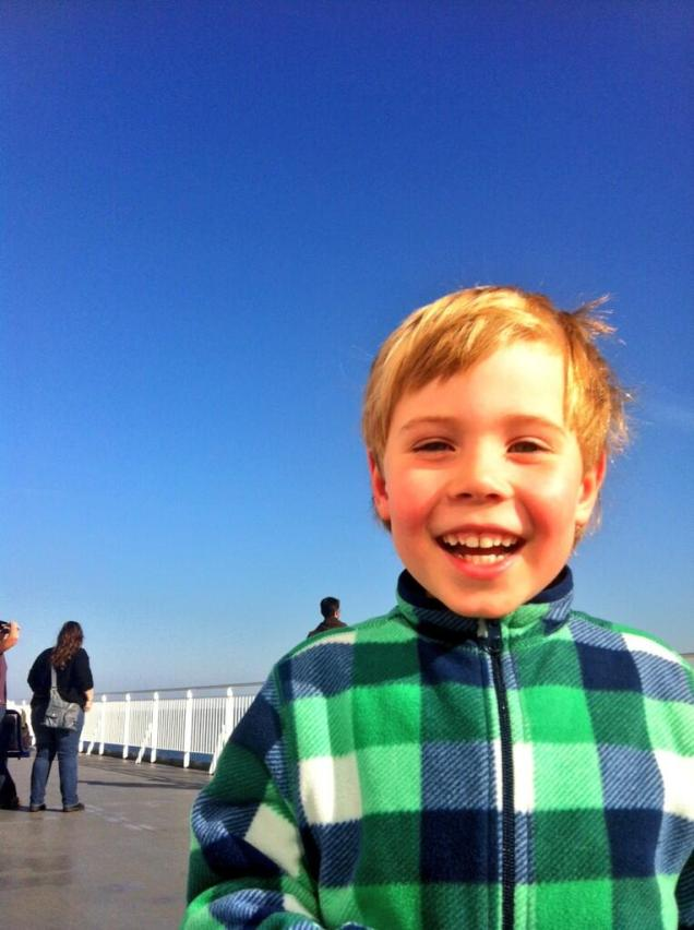 on the ferry