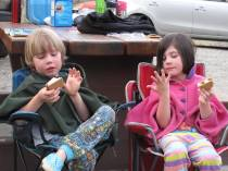Smores man! Kale and his buddy Audrey with camp blankets and smores.