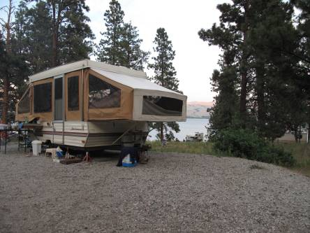 Our wee tent trailer overlooking the lake.