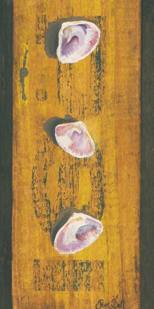 Artist Jen Bell's Clam Shell Painting on Reclaimed Wood
