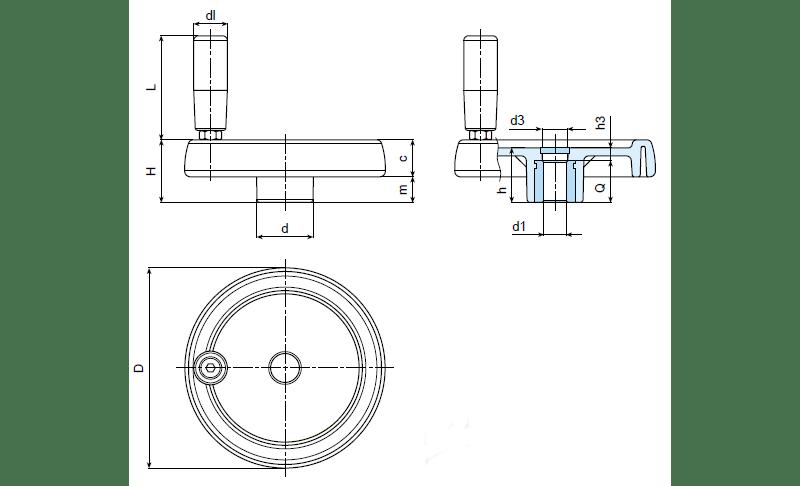 Solid Control Handwheel With Revolving Handle (C197