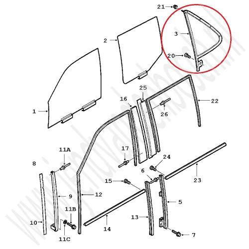 J&D Van den Bosch Gebruikt zijachterraampje in driehoekige