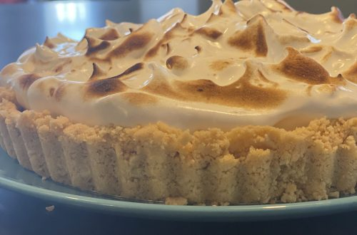Close up of a lemon meringue pie