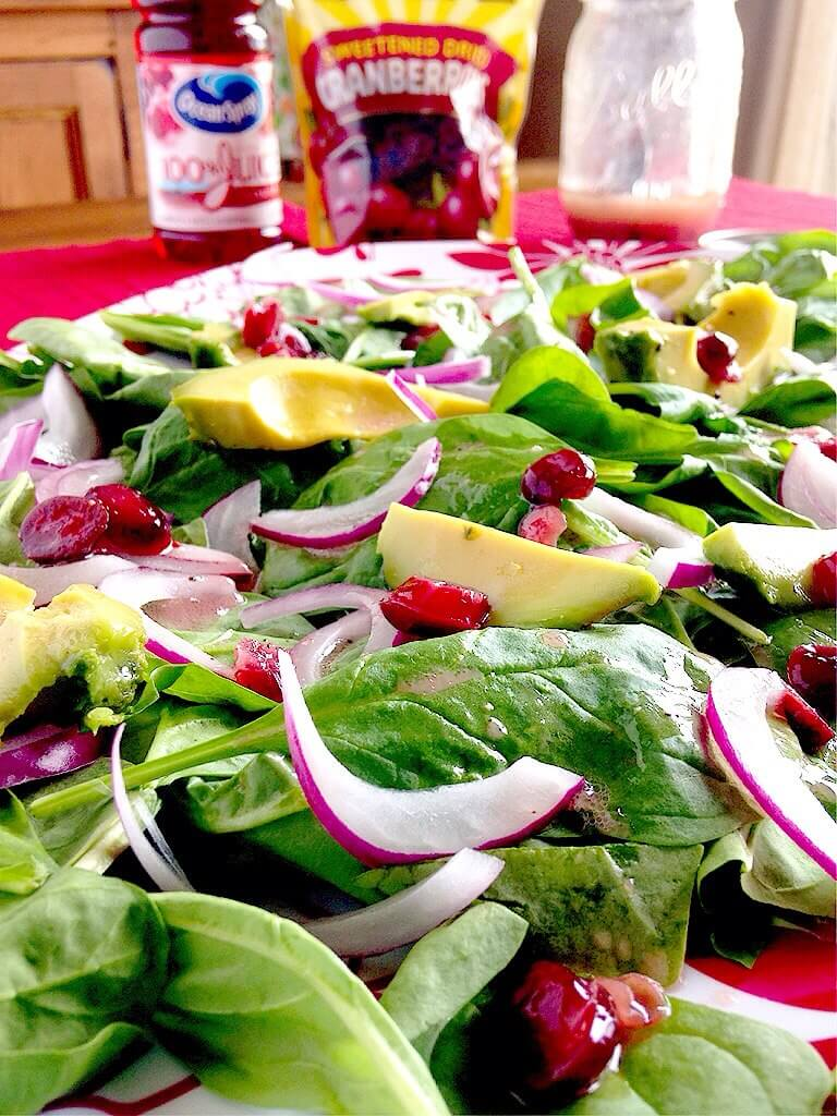 Cranberry Spinach Salad with Avocado
