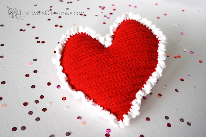 Free Crochet Heart Pillow Pattern Jen Hayes Creations