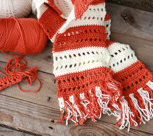 Double Stitch Window Crochet Scarf
