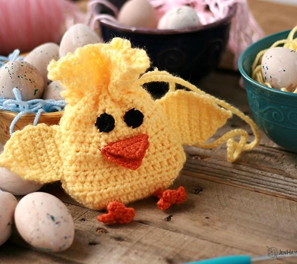 Spring Chick Crochet Drawstring Bag