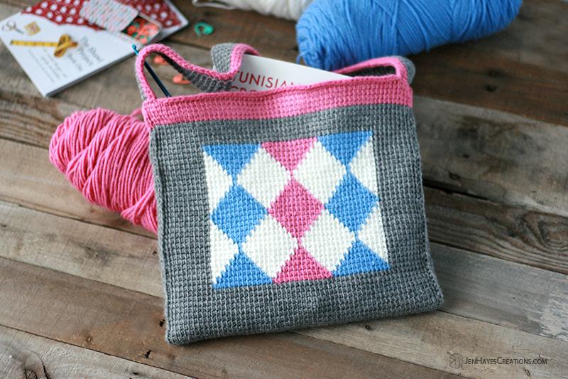 Diamonds in Tunisian Crochet Bag
