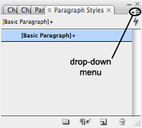 paragraph styles panel menu