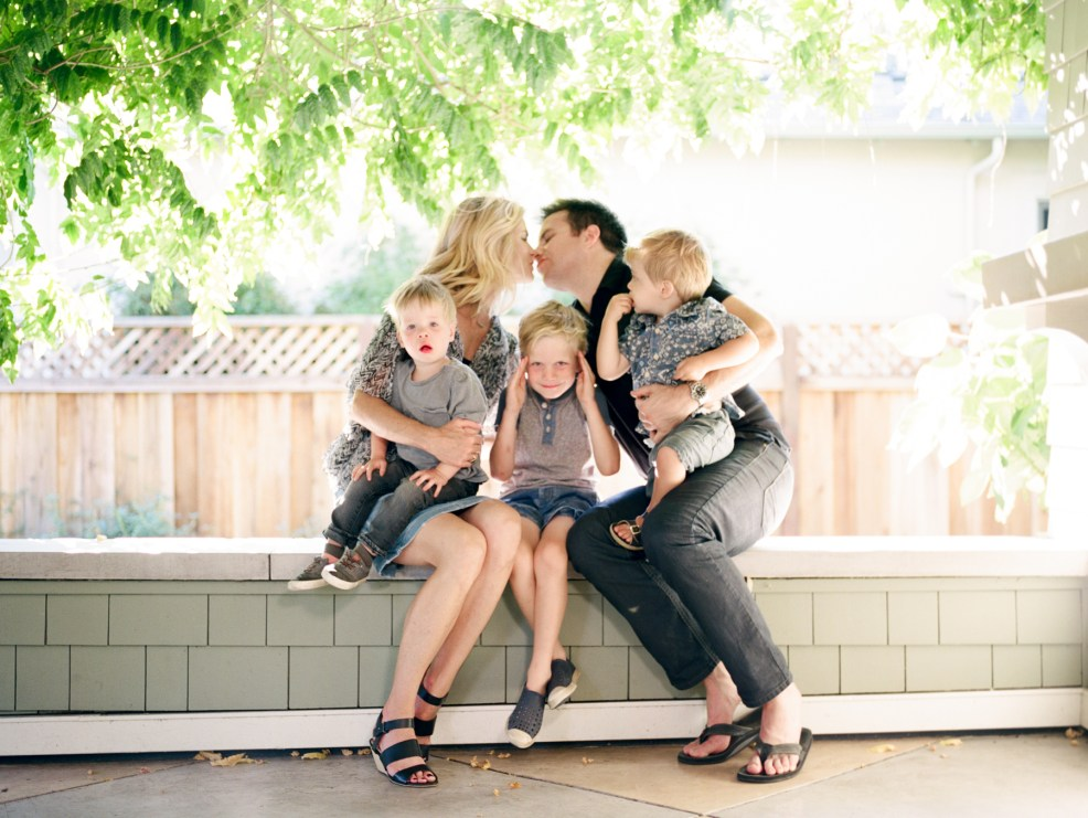 family together on porch