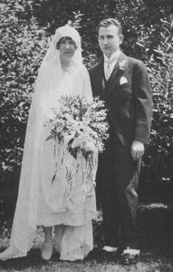 Mr. and Mrs. Jenkins posing in the gardens on their wedding day in 1926.