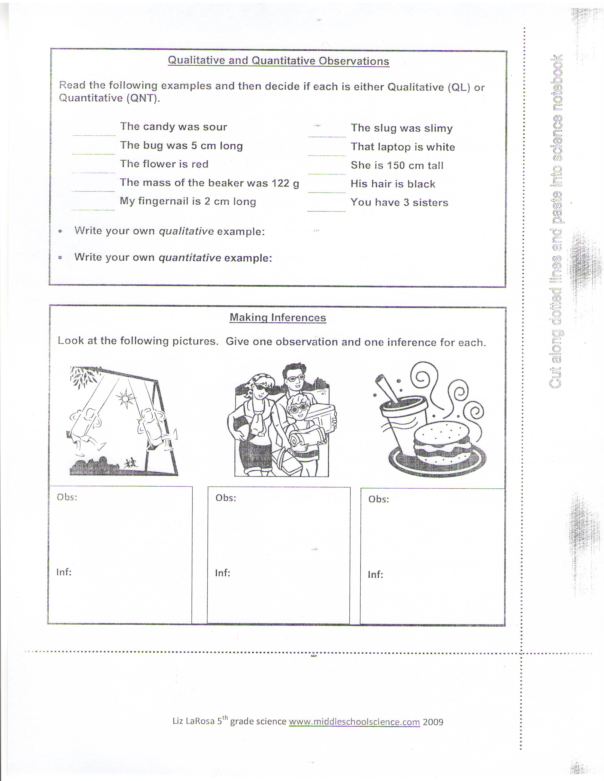 Worksheet Observations And Inferences Worksheet Grass
