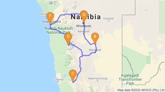 Namibia Safari Self-Drive Adventure Map